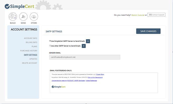SimpleCert SMTP Settings