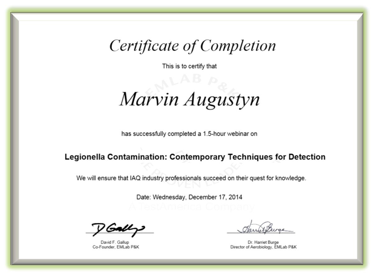 EM Lab Certificate.