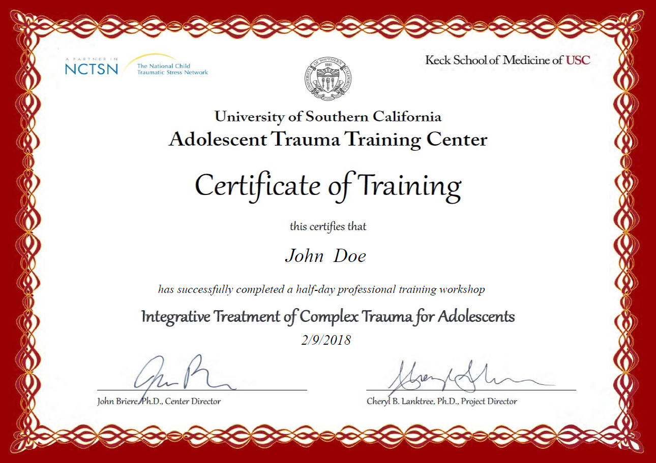 certificate usc medicine cpe keck training example medical