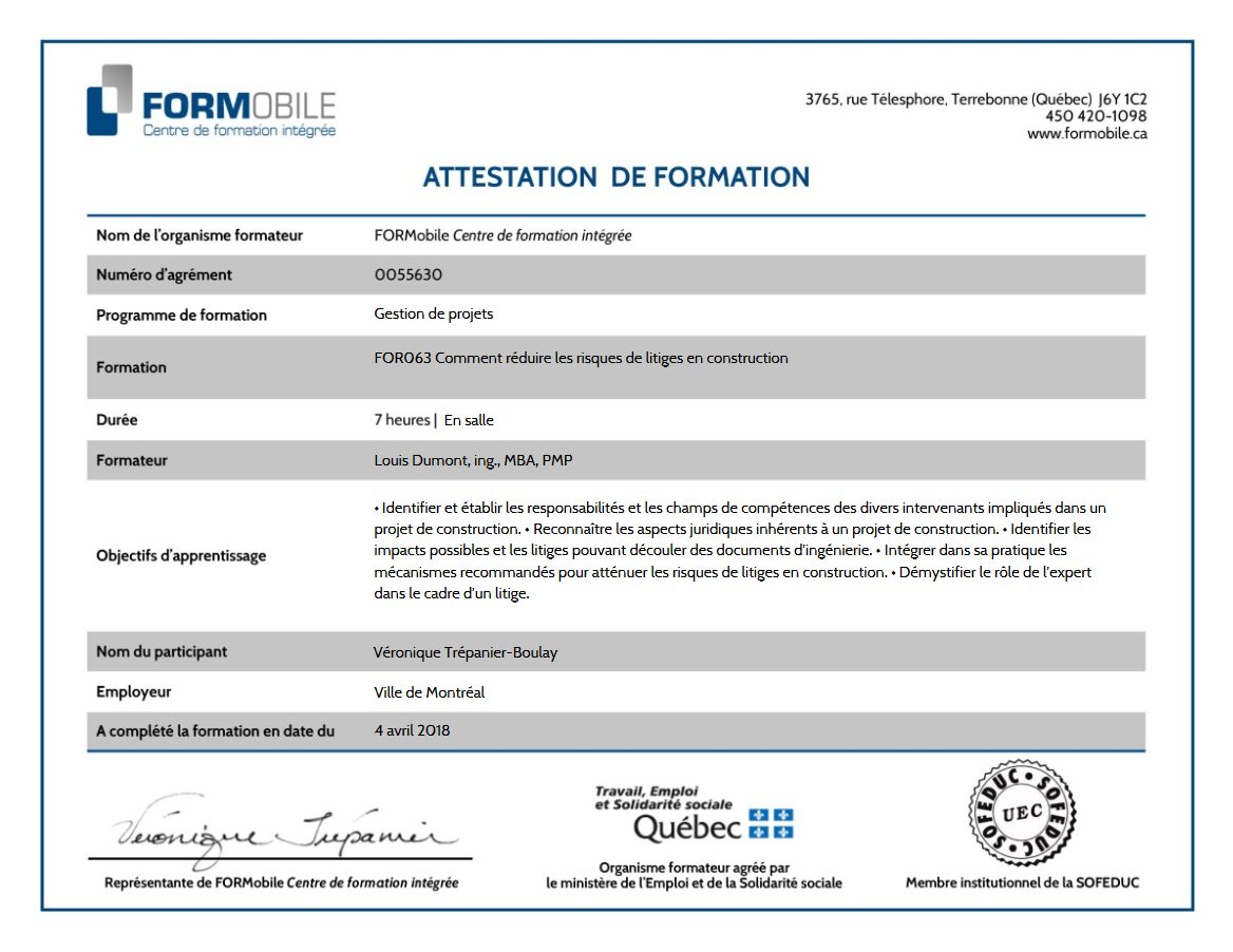FORMobile Certificate of Training