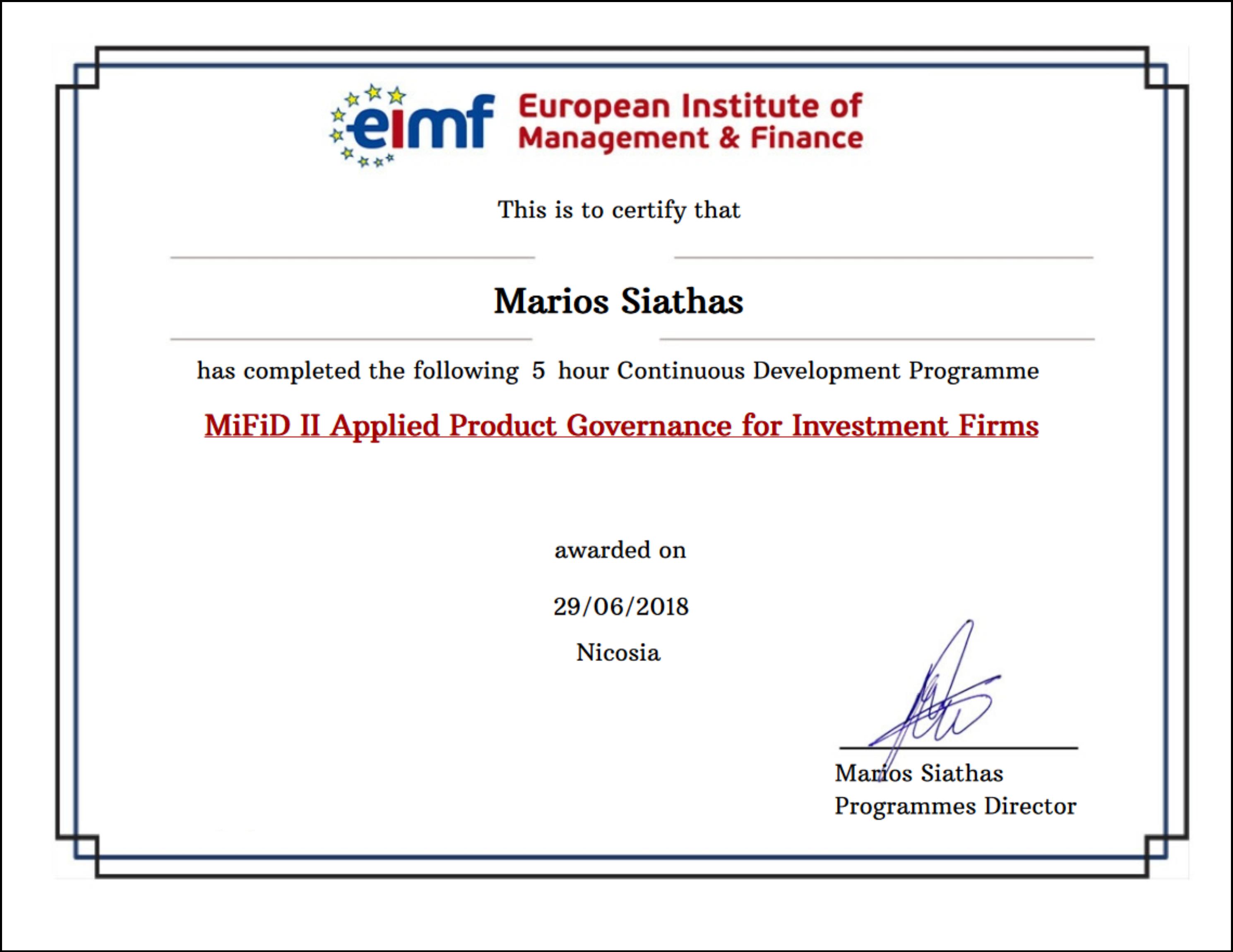 EIMF SimpleCert Certificate