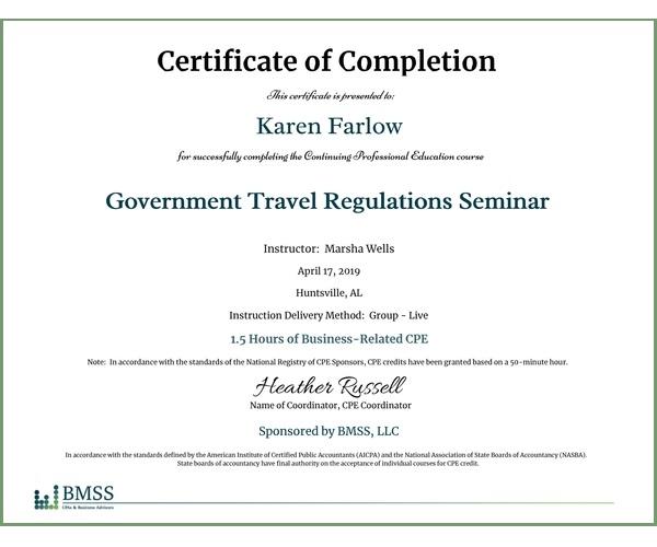 BMSS SimpleCert® CPE Certificate Example