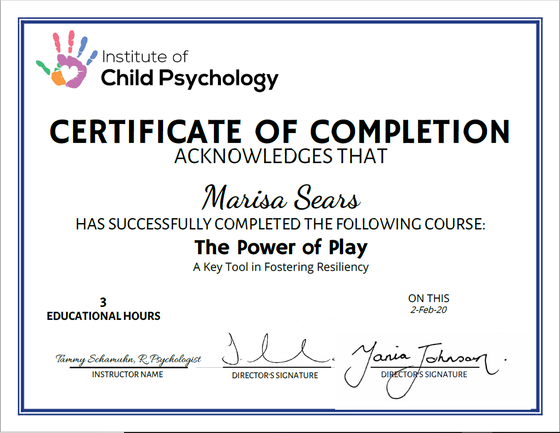 Institute of Child Psychology Workshop Certificate powered by SimpleCert