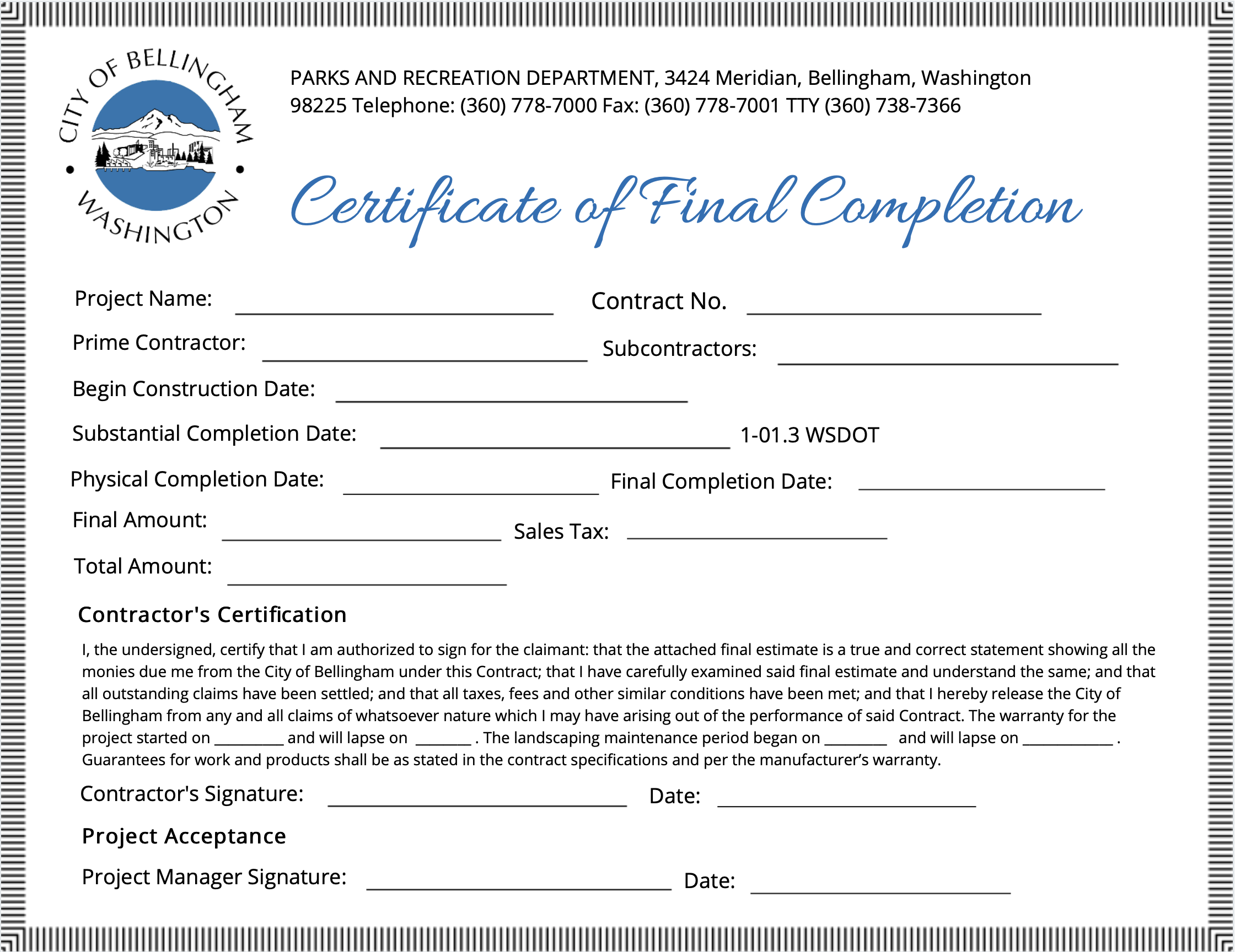 Certification of Final Completion.