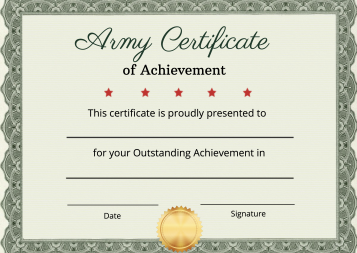 Army Certificate of Achievement Template.